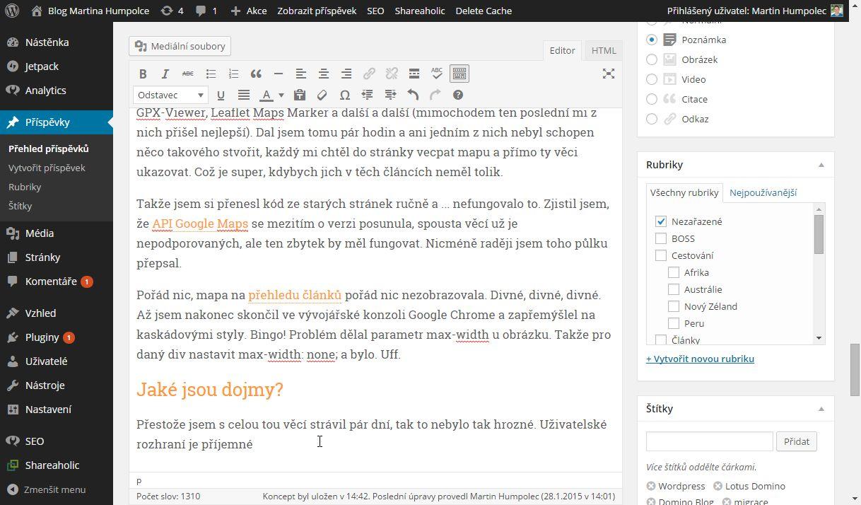 Pohled na prostředí Wordpressu
