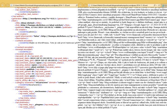 Vlevo validní XML, vpravo nevalidní