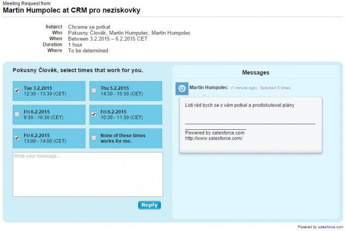 Salesforce - výběr termínu schůzky, který se mi hodí.