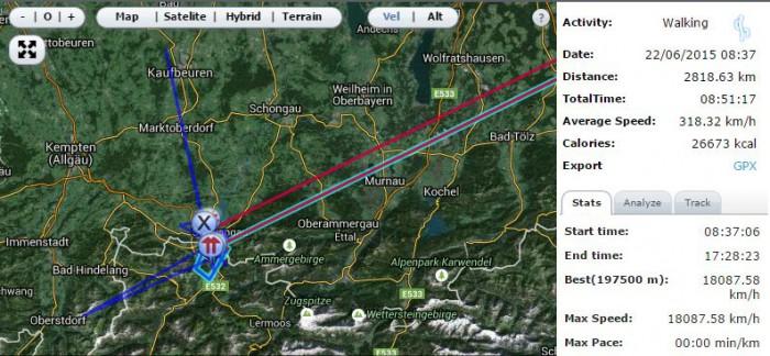 Úlety v záznamu trasy u Nikon D5300