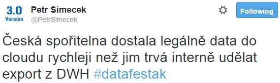 Česká spořitelna dostala legálně data do cloudu rychleji než jim trvá interně udělat export z DWH #datafestak