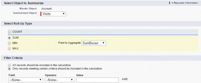 Definice roll-up Summary pole v Salesforce