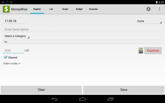 Obrazovka aplikace MoneyWise