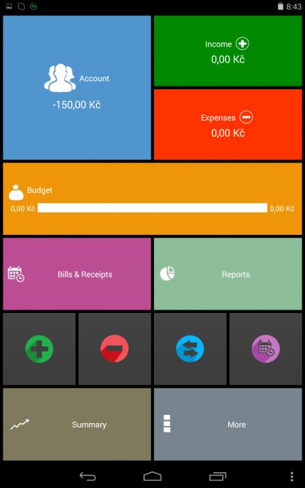 Obrazovka aplikace My Wallet
