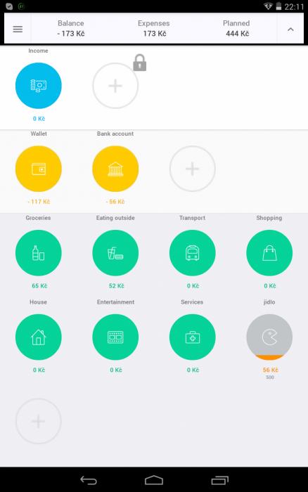 Obrazovka aplikace CoinKeeper