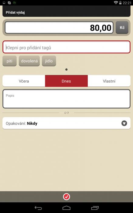 Obrazovka aplikace Toshl Finance