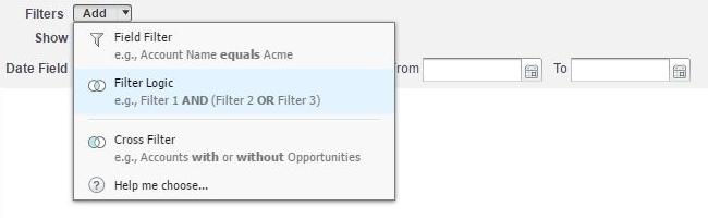 Přidání logiky filtrů v Salesforce