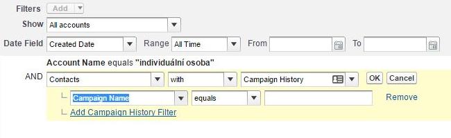 Přidání cross-filteru v Salesforce