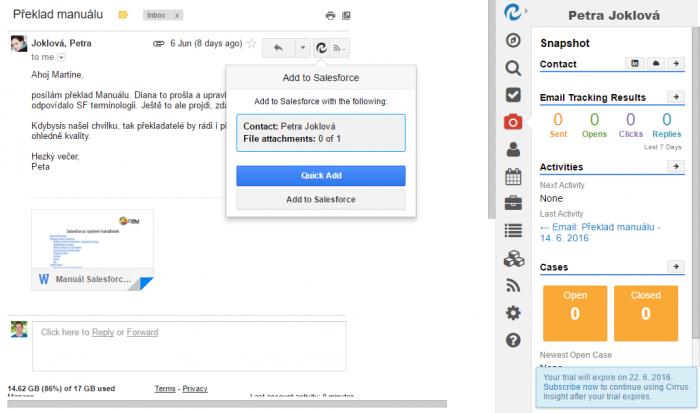 Uložení emailu z Gmailu do Salesforce