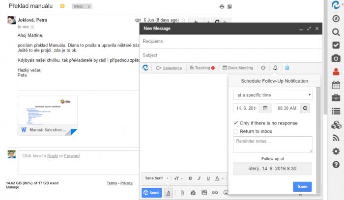 Možnosti při odesílání emailu