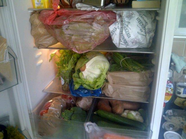 Naše lednice plná zeleniny během Whole30