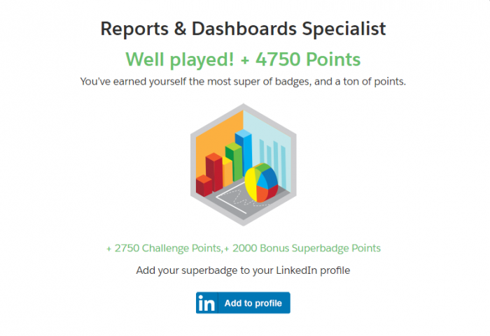 Salesforce Trailhead Reports & Dashboards Specialist superbadge complete