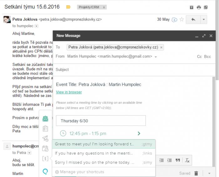 Odesílání emailu z naplánovanými schůzkami v Salesforce + rychlé věty na vložení