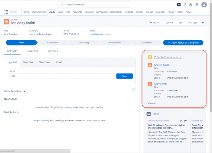 Salesforce Winter '17 Lead Duplicate management