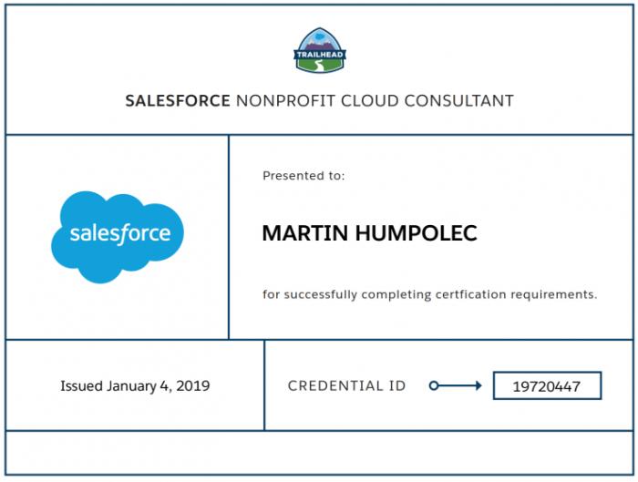 Nonprofit Cloud Consultant certificate