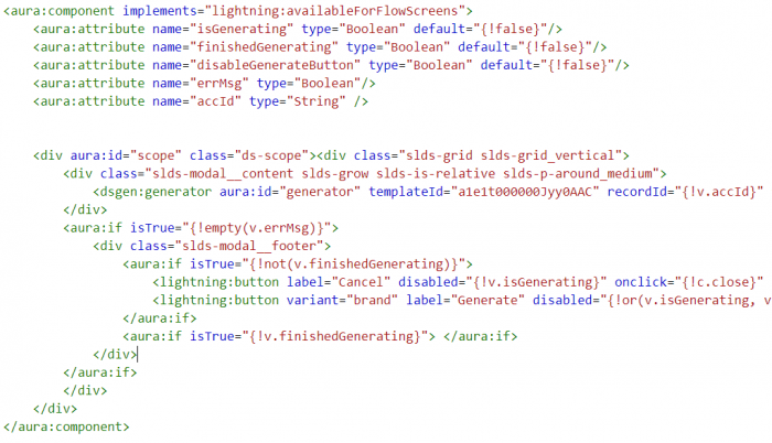 "DocuSign Gen Lightning Component - most of it generated automatically, I only change the ""implements"" and recordId"