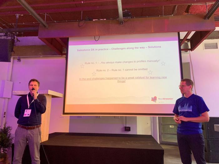 Me and Adam presenting Salesforce DX