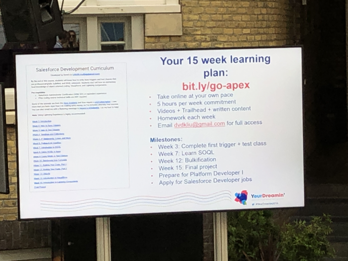 Do you want to learn developing in Salesforce? Give in 15 weeks and maybe you will end in Google as David.