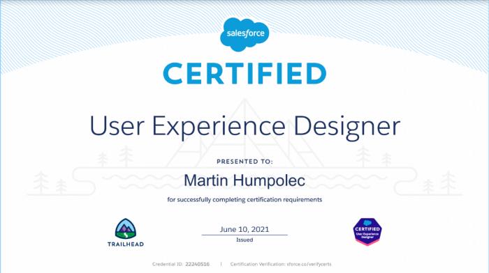 Salesforce UX Experience Designer Certification