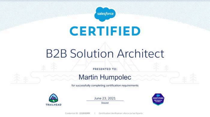 Salesforce Certified B2B Solution Architect certification